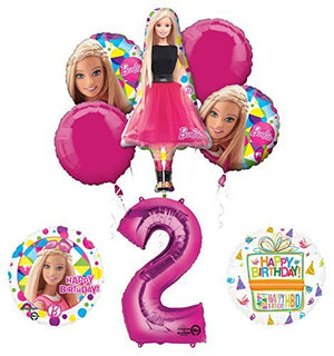 Barbie 2nd Birthday Party Supplies and Balloon Bouquet Decorations