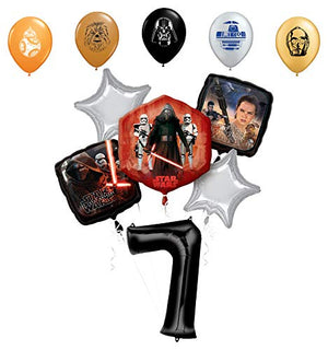"Star Wars 7th Birthday Party Supplies Foil Balloon Bouquet Decorations with 5pc Star Wars 11"" Character Print Latex Balloons Chewbacca, Darth Vader, C3PO, R2D2 and BB8"