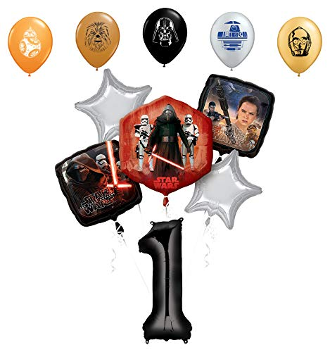 "Star Wars 1st Birthday Party Supplies Foil Balloon Bouquet Decorations with 5pc Star Wars 11"" Character Print Latex Balloons Chewbacca, Darth Vader, C3PO, R2D2 and BB8"