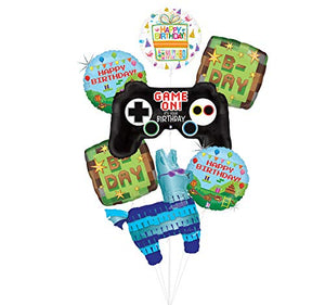 Video Game Birthday Party Supplies Miner Pixelated TNT Minecraft-Inspired Balloon Bouquet Decorations With Controller and LLama