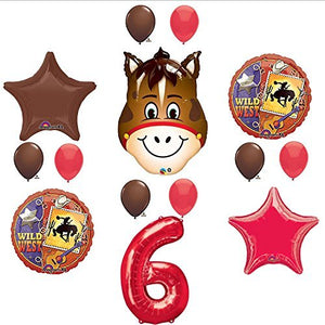 Wild West Cowboy Western 6th Birthday Party Supplies and Balloon Decorations