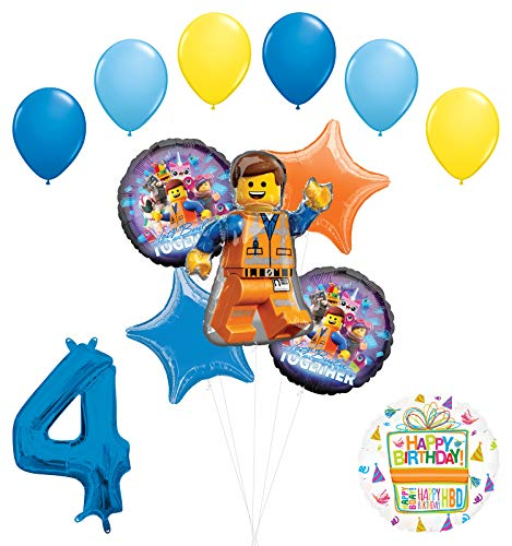 LEGO Movie Party Supplies 4th Birthday Balloon Bouquet Decorations
