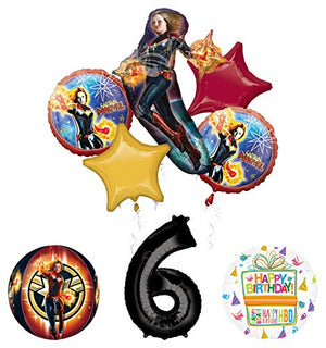 Mayflower Products Captain Marvel 6th Birthday Party Supplies Balloon Bouquet Decorations with 4 Sided Orbz Balloon