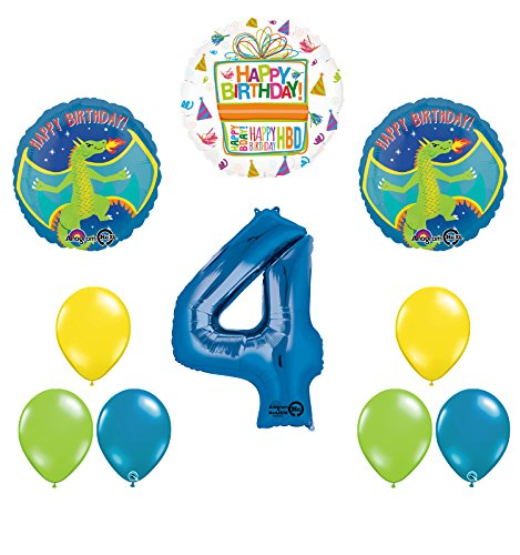 Dragon 4th Birthday Party Supplies and Balloon Decoration Bouquet
