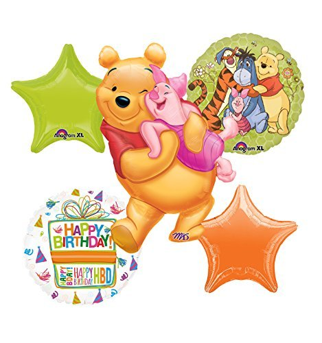 Winnie The Pooh, Tigger, Piglet and Eeyore Birthday Party Balloon Bouquet Decorations