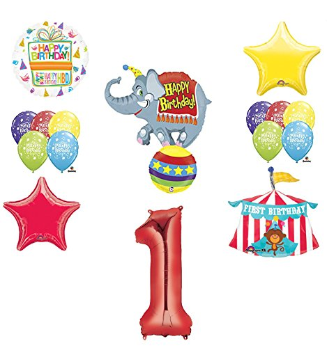 Circus 1st Birthday Party Supplies and Balloon Bouquet Decorations