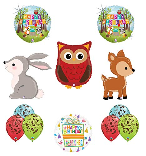 Mayflower Products Woodland Creatures Birthday Party Supplies Balloon Bouquet Decorations Owl Deer and Rabbit