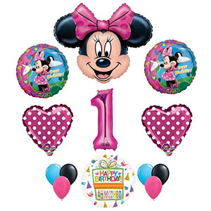 Minnie Mouse 1st Birthday Party Supplies and Pink Bow 13 pc Balloon Decorations