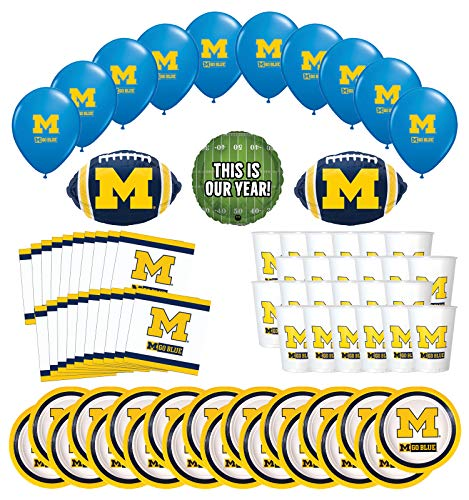 Mayflower Products Michigan Wolverines Football Tailgating Party Supplies for 20 Guest and Balloon Bouquet Decorations