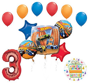 Mayflower Products Hot Wheels Party Supplies 3rd Birthday Balloon Bouquet Decorations