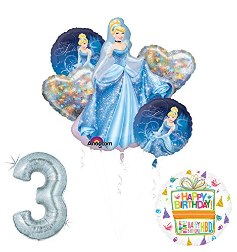 Cinderella 3rd birthday party supplies and princess balloon decorations