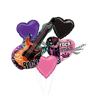 Mayflower Products Rock Star Birthday Party Supplies Rocker Girl Guitar Balloon Bouquet Decorations