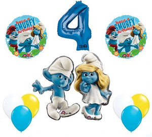 The Smurfs Birthday Party Supplies Smurf and Smurfette 4th Smurfy Birthday Balloon Decorations