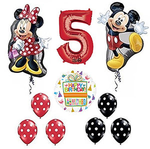 Mickey and Minnie Mouse Full Body 5th Birthday Supershape Balloon Set