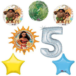 Disney Moana 5th Holographic Birthday Party Balloon Supplies Decoration Kit