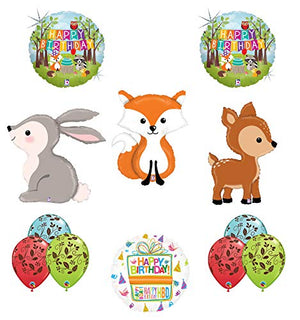 Mayflower Products Woodland Creatures Birthday Party Supplies Balloon Bouquet Decorations Fox Deer and Rabbit