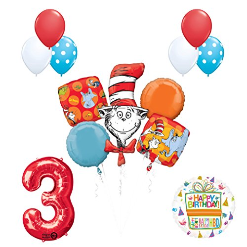 13 pc Dr Seuss Cat in the Hat 3rd Birthday Party Balloon Supplies and Decorations
