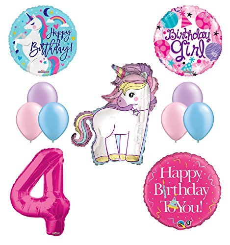Unicorn 4th Birthday Girl Party Supplies and Balloon Decorations