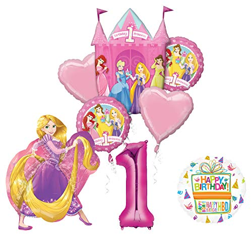 Mayflower Products Princess 1st Birthday Party Supplies Rapunzel Balloon Bouquet Decorations