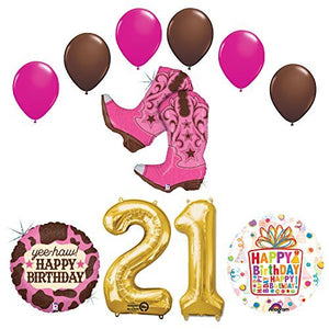 Wild West Cowgirl Boots Western 21st Birthday Party Supplies and Balloons Decorations