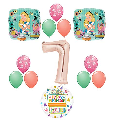 Alice in Wonderland Tea Time 7th Birthday Party Supplies Mad Hatter Balloons Decoration