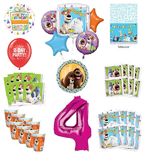 Secret Life of Pets 4th Birthday Party Supplies 8 Guest kit and Balloon Bouquet Decorations - Pink Number 4