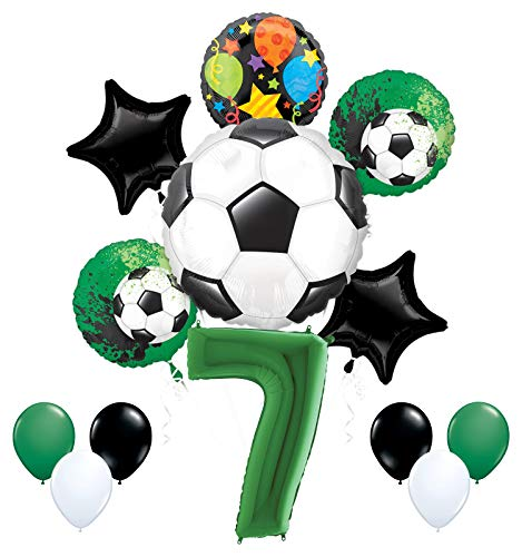 Mayflower Products Soccer Party Supplies 7th Birthday Goal Getter Balloon Bouquet Decorations - Green Number 7