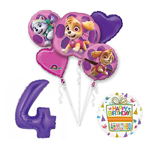 PAW PATROL SKYE & EVEREST 4th Birthday Party Balloons Decoration Supplies Chase Ryder by Mayflower Products