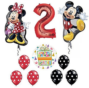 Mickey and Minnie Mouse Full Body 2nd Birthday Supershape Balloon Set