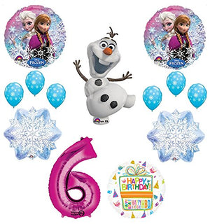 Frozen 6th Birthday Party Supplies Olaf, Elsa and Anna Balloon Bouquet Decorations Pink #6
