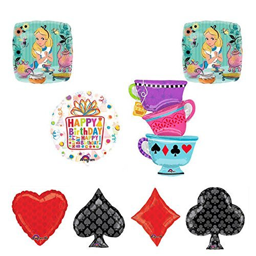ALICE IN WONDERLAND Tea Party Tea Cup Playing Cards Birthday Balloons Decoration Supplies