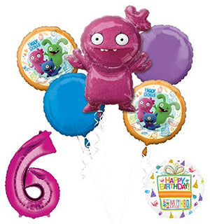 "Mayflower Products Ugly Dolls 6th Birthday Party Supplies 34"" Pink Number 6 Balloon Bouquet Decorations"