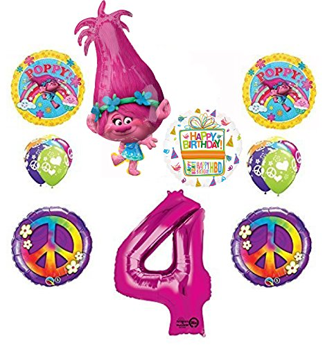 TROLLS 4th Birthday Party Supplies Poppy Peace Balloon Bouquet Decorations