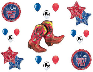 Western Theme Birthday Party Supplies Bandana Hoedown Rodeo Balloon Bouquet Decorations with Dancing Boots