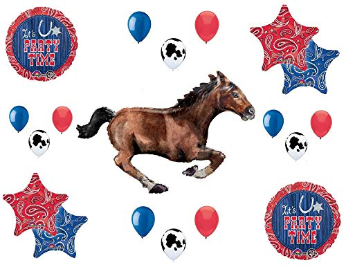 Western Theme Birthday Party Supplies Bandana Hoedown Rodeo Balloon Bouquet Decorations with Galloping Horse