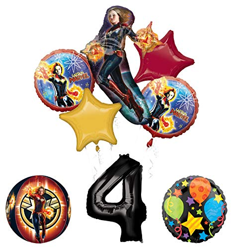 Mayflower Products Captain Marvel 4th Birthday Party Supplies Jubilee and Orbz Balloon Bouquet Decorations