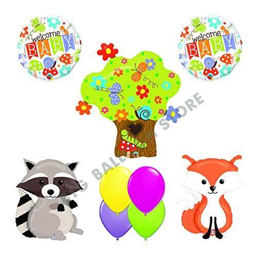WELCOME BABY 9pc Woodland Creatures Baby Shower Balloons Decoration