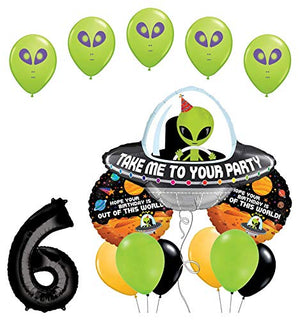 Space Alien 6th Birthday Party Supplies Balloon Bouquet Decorations
