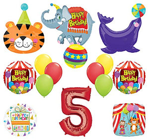 Mayflower Products Circus Theme Big Top 5th Birthday Party Supplies and Balloon Bouquet Decorations Elephant, Tiger and Seal