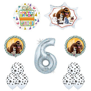 The Secret Life of Pets 6th Holographic Birthday Party Balloon Supply Decorations With Paw Print Latex
