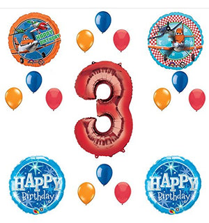 Disney Planes Party Supplies 3rd Birthday Balloon Bouquet Decorations (Red 3)