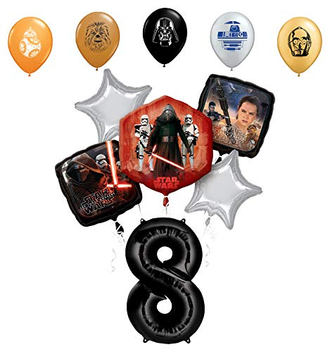 "Star Wars 8th Birthday Party Supplies Foil Balloon Bouquet Decorations with 5pc Star Wars 11"" Character Print Latex Balloons Chewbacca, Darth Vader, C3PO, R2D2 and BB8"