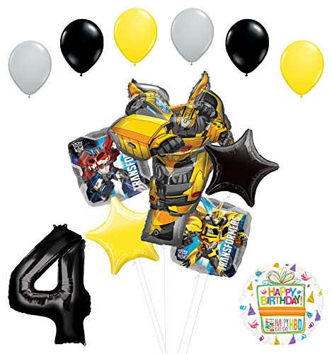 Transformers Mayflower Products Bumblebee 4th Birthday Party Supplies Balloon Bouquet Decorations