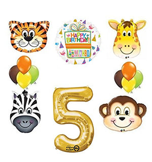 Jungle Animal Safari Fifth 5th Birthday Party Supplies and Balloon Decorations