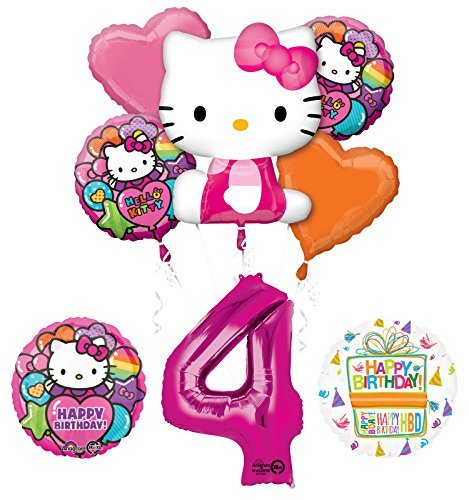 Hello Kitty 4th Birthday Party Supplies and Balloon Bouquet Decorations