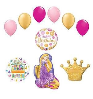 10 pc Rapunzel Tangled Crown Princess Balloon Birthday Party Supplies