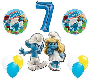 The Smurfs Birthday Party Supplies Smurf and Smurfette 7th Smurfy Birthday Balloon Decorations