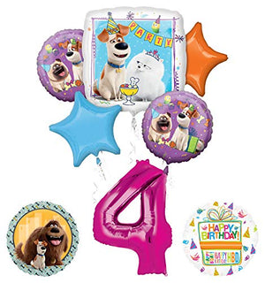 Mayflower Products Secret Life of Pets Party Supplies 4th Birthday Balloon Bouquet Decorations - Pink Number 4
