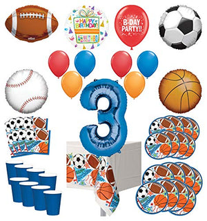 Mayflower Products Sports Theme 3rd Birthday Party Supplies 8 Guest Entertainment kit and Balloon Bouquet Decorations - Blue Number 3