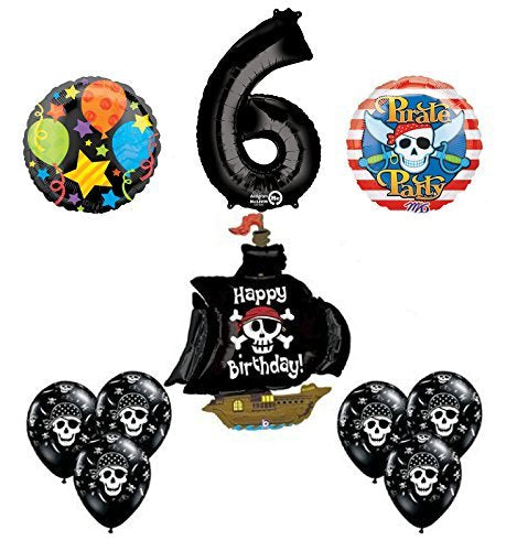 Black Pirate Ship 6th Birthday Party Supplies and Balloon Decorations